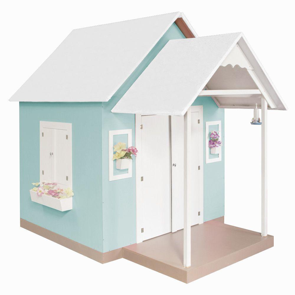 Casinha de Brinquedo com Telhado Branco/Verde Água - Criança Feliz