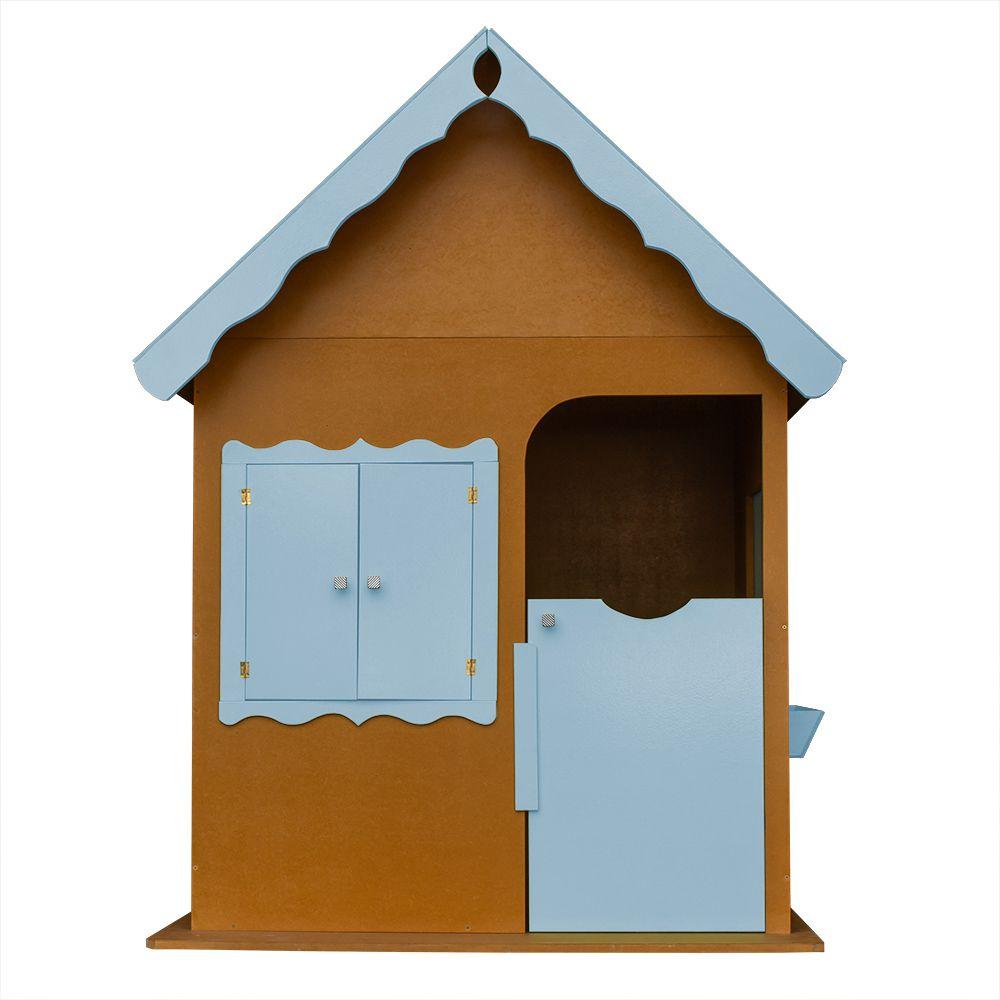 Casinha de Brinquedo Infantil Verniz/Azul Bebê - Criança Feliz