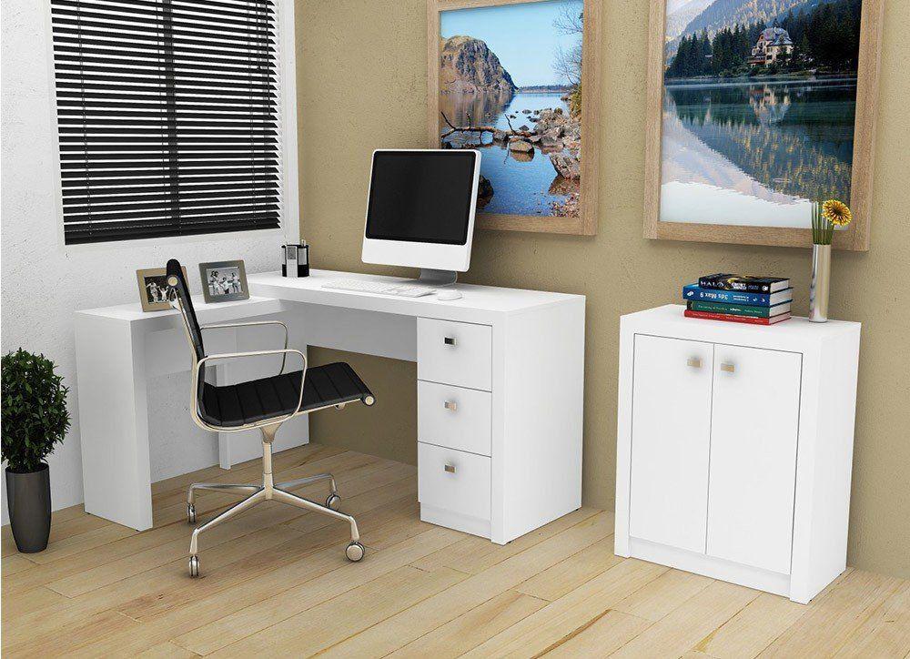 Conjunto para Home Office 02 Peças Branco - Tecno Mobili