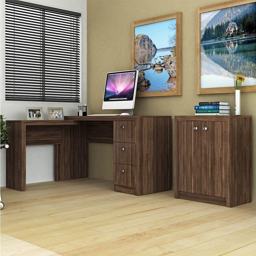 Conjunto para Home Office 02 Peças Nogal - Tecno Mobili
