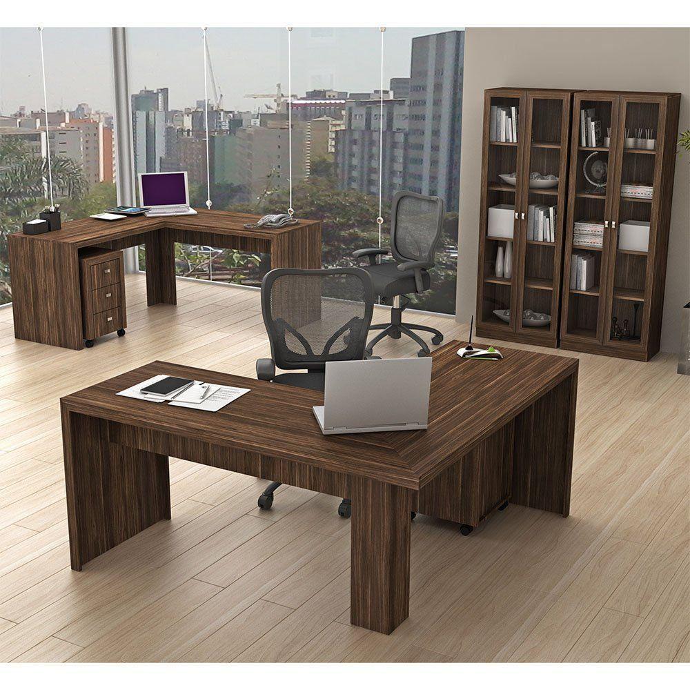 Conjunto para Home Office 06 Peças Nogal - Tecno Mobili