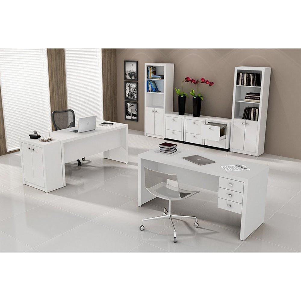 Conjunto para Home Office com 08 Peças Branco - Tecno Mobili