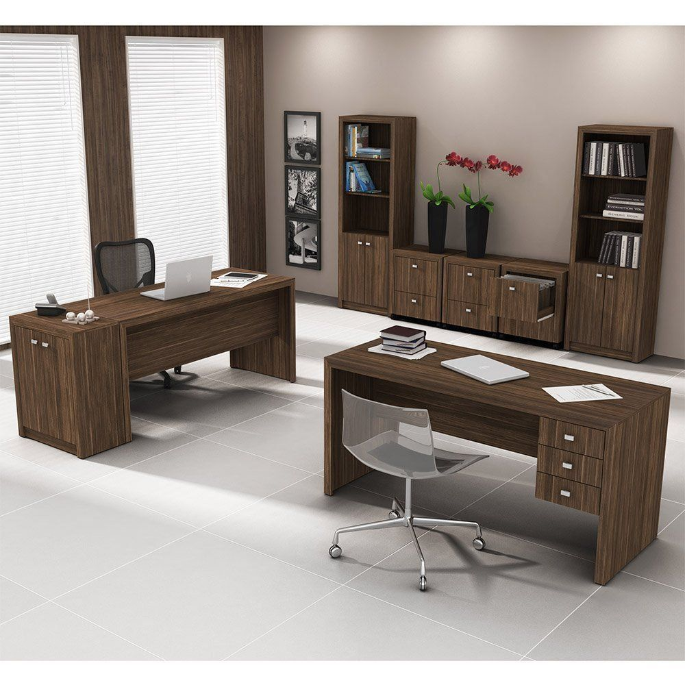 Conjunto para Home Office com 08 Peças Nogal - Tecno Mobili