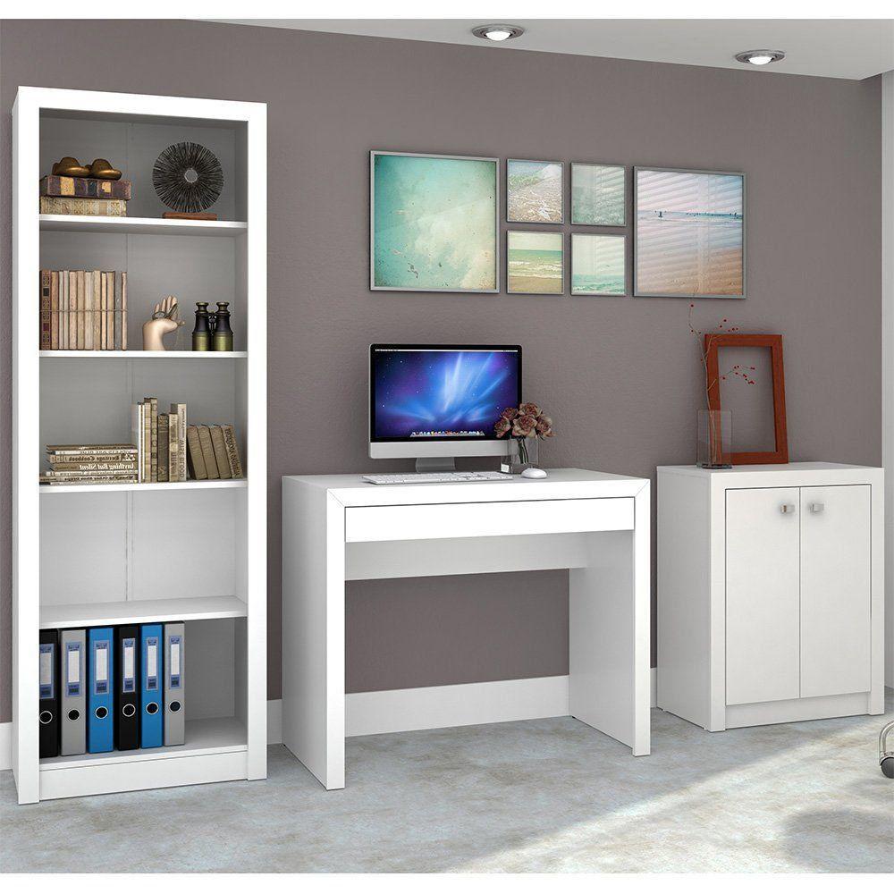 Conjunto para Home Office Ideal 03 Peças Branco - Tecno Mobili