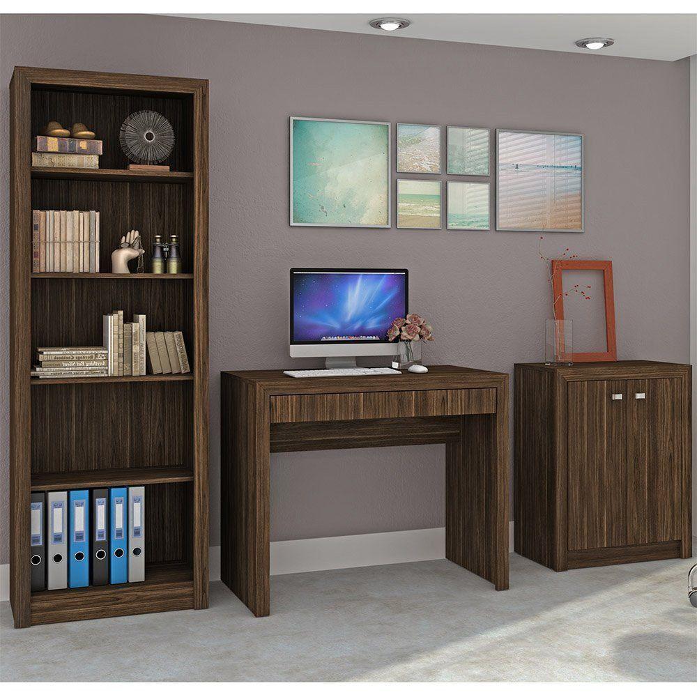 Conjunto para Home Office Ideal 03 Peças Nogal - Tecno Mobili