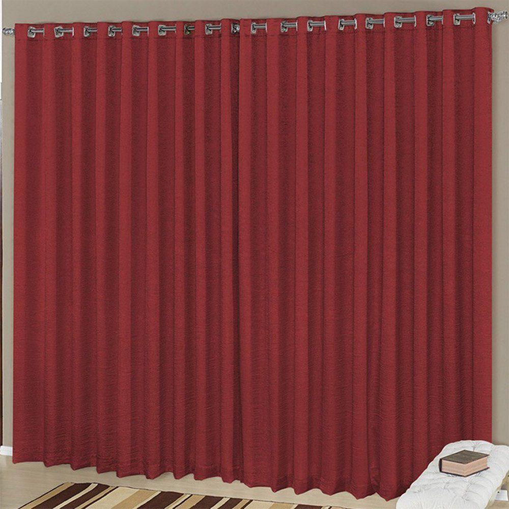 Cortina para Varão Simples Helena 3,00m x 2,60m Vermelho - Vilela Enxovais