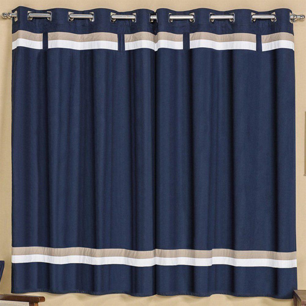 Cortina para Varão Simples Kauã 2,00m x 1,80m Azul Marinho - Vilela Enxovais