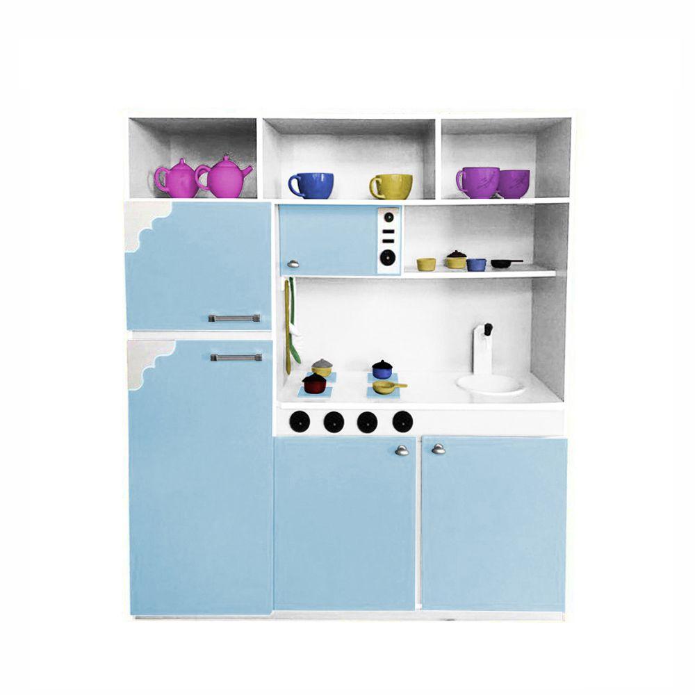 Cozinha de Brinquedo Infantil 130cm Azul Bebê/Branco - Criança Feliz