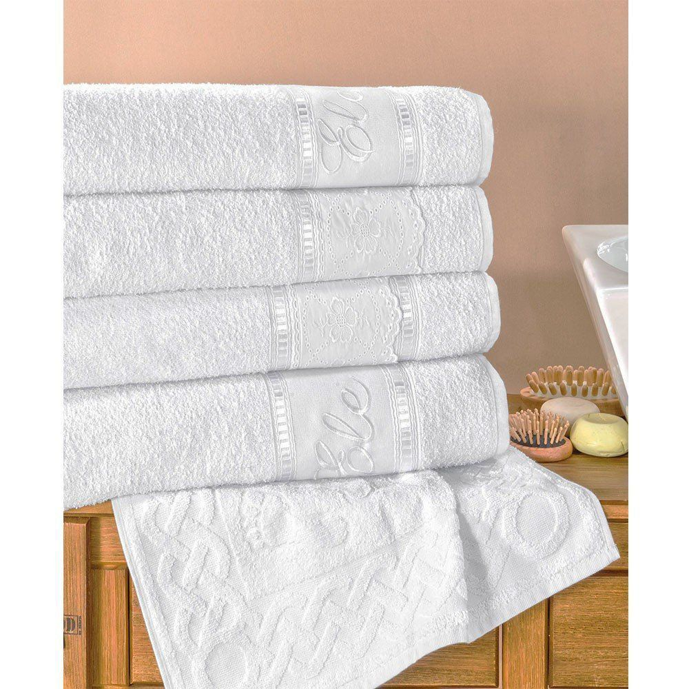 Jogo de Banho 05 Peças Florença Branco - Bia Enxovais