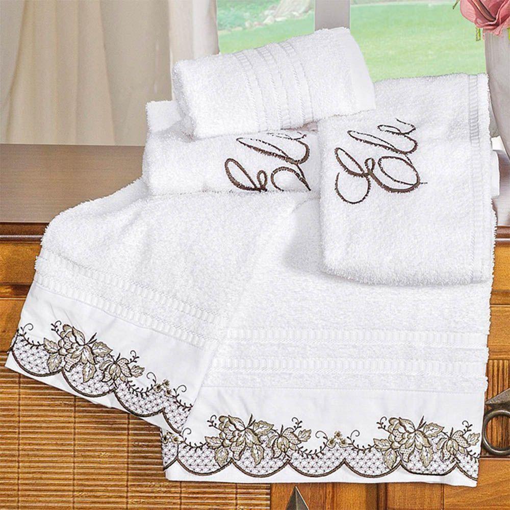 Jogo de Banho Mondrean Percal 200 Fios 5 Peças Branco - Vilela Enxovais