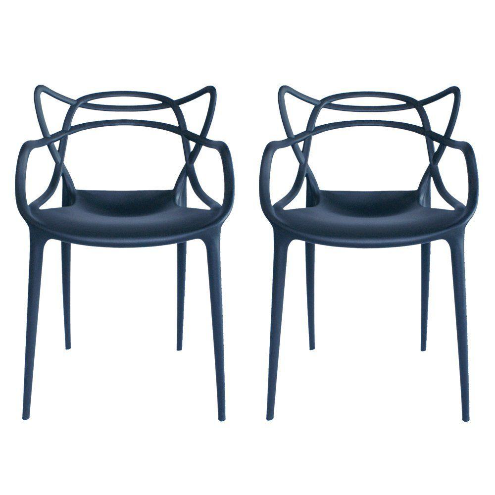 Kit 02 Cadeiras Decorativa Amsterdam Preto - Facthus