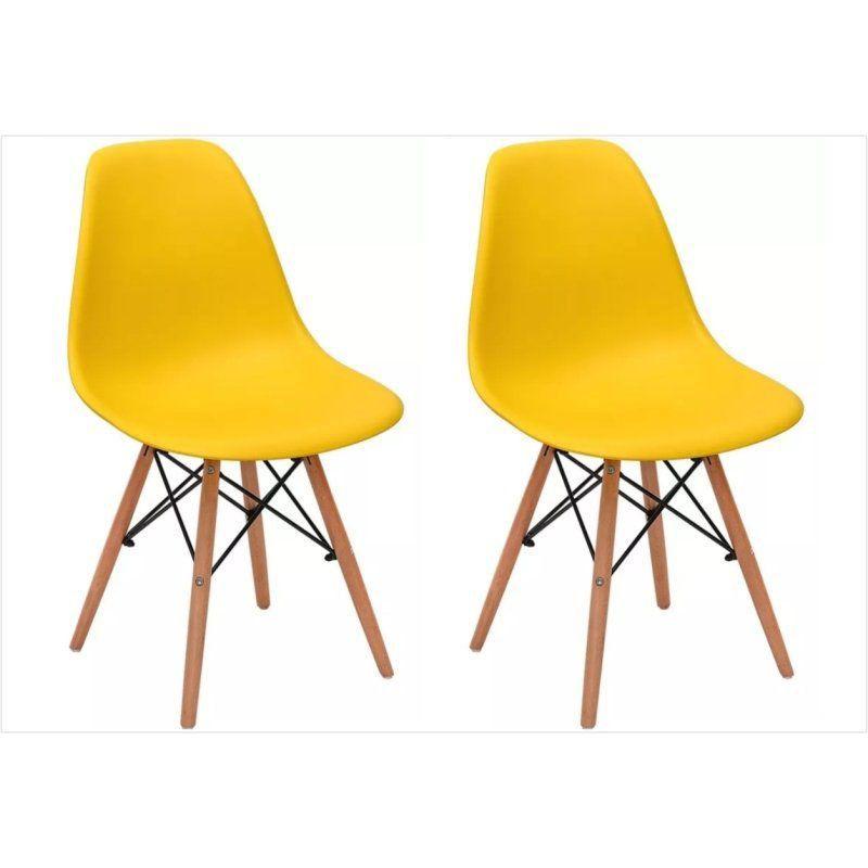 Kit 02 Cadeiras Eiffel Charles Eames em ABS Amarela com Base de Madeira DSW