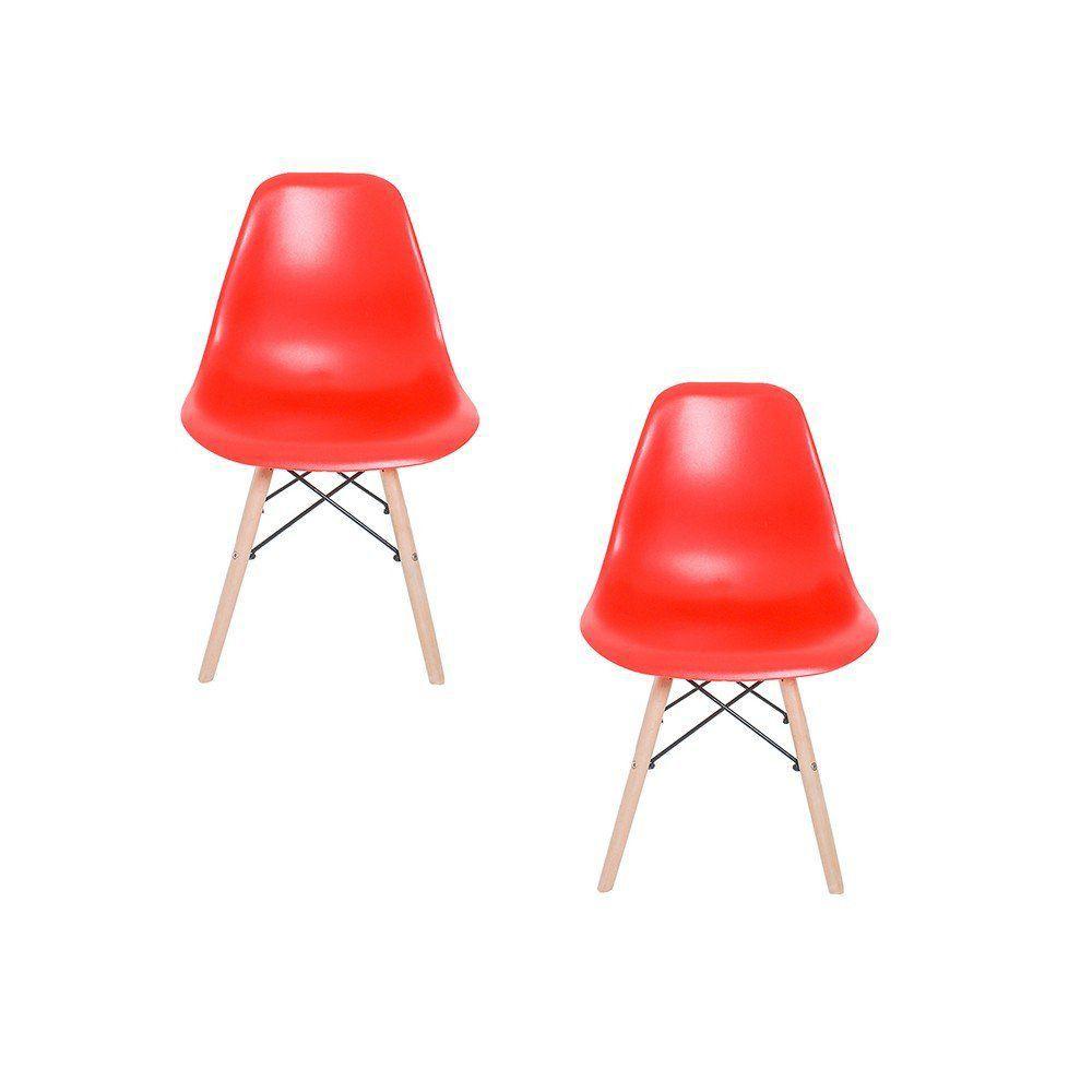 Kit 02 Cadeiras Eiffel Charles Eames em ABS com Base de Madeira DSW Vermelho - Facthus