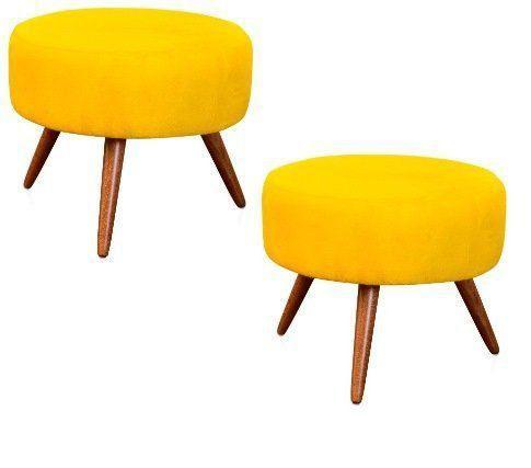Kit 02 Puffs Decorativo Angel Suede Amarelo