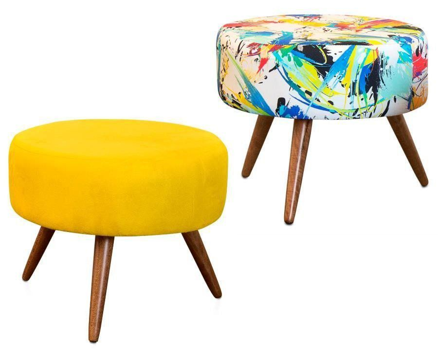 Kit 02 Puffs Decorativo Angel Suede Amarelo-Color