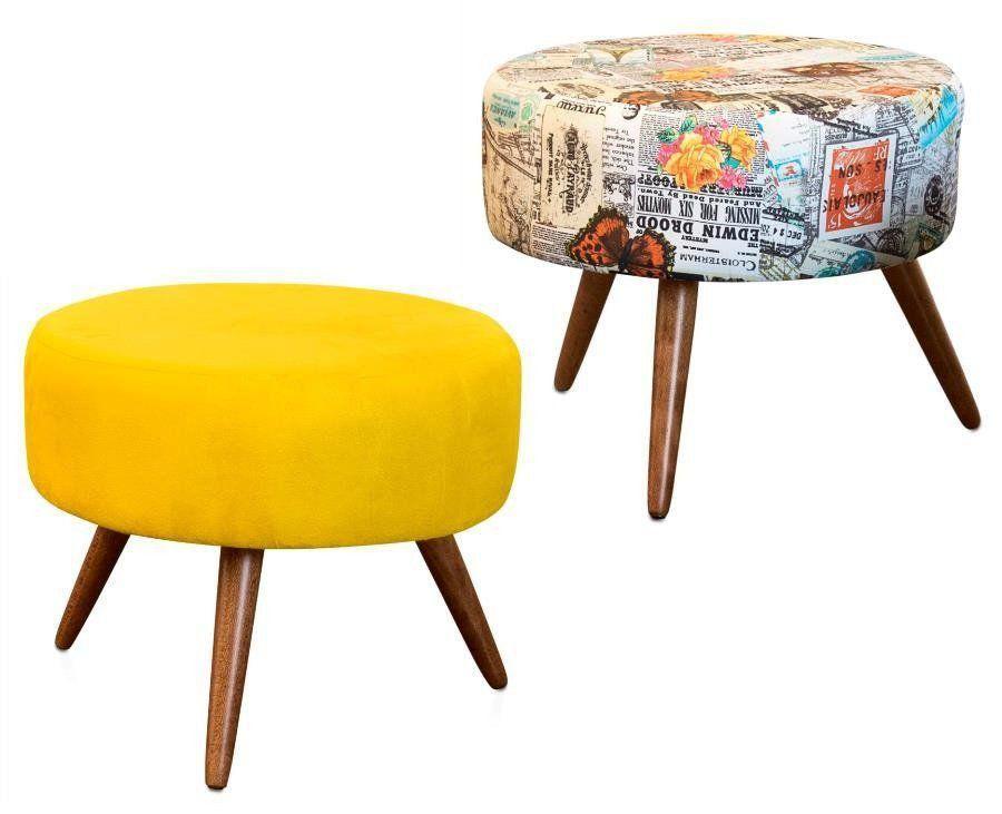 Kit 02 Puffs Decorativo Angel Suede Amarelo-Jornal Colorido