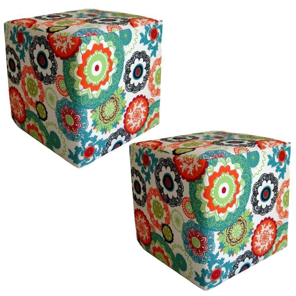 Kit 02 Puffs Decorativo Quadrado Tecido Floral Laranja - Nay Estofados