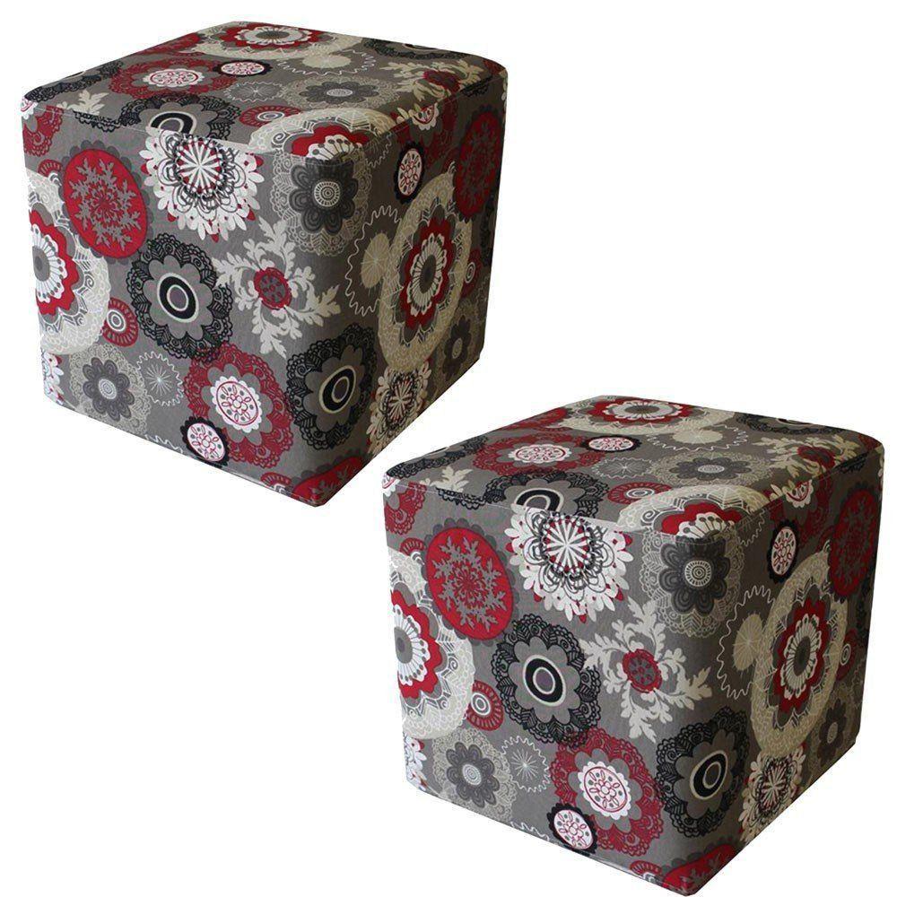 Kit 02 Puffs Decorativo Quadrado Tecido Floral Vermelho - Nay Estofados