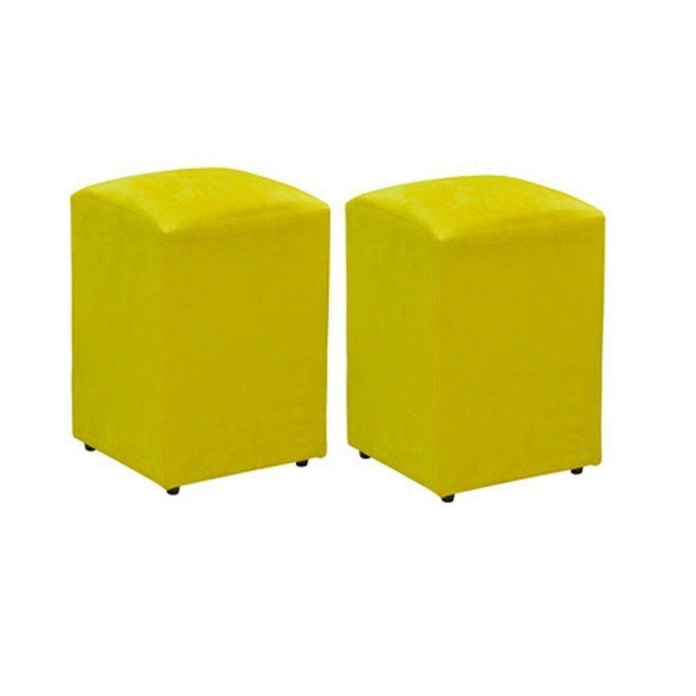 Kit 02 Puffs Decorativo Suede Amarelo