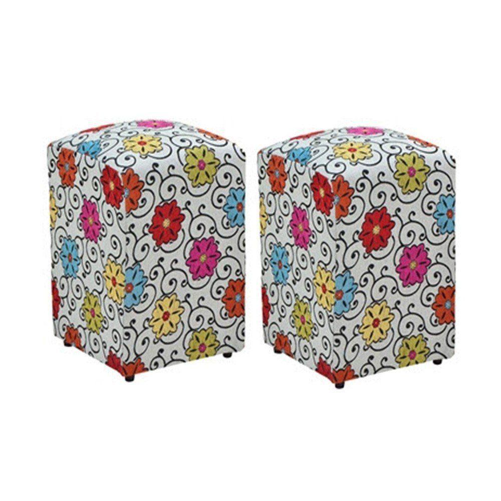 Kit 02 Puffs Decorativo Suede Floral Dohler