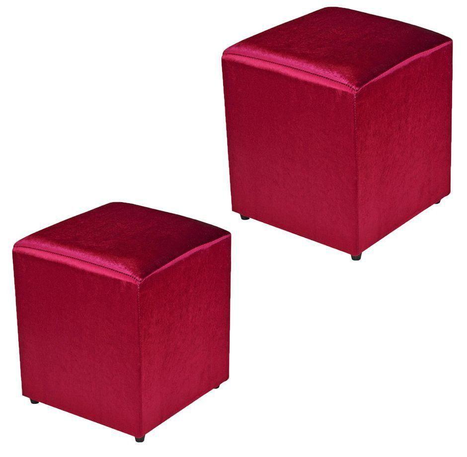 Kit 02 Puffs Quadrado Decorativo Acetinado Vermelho - Nay Estofados