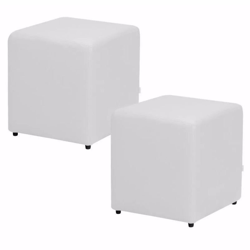 Kit 02 Puffs Quadrado Corino Branco - Nay Estofados
