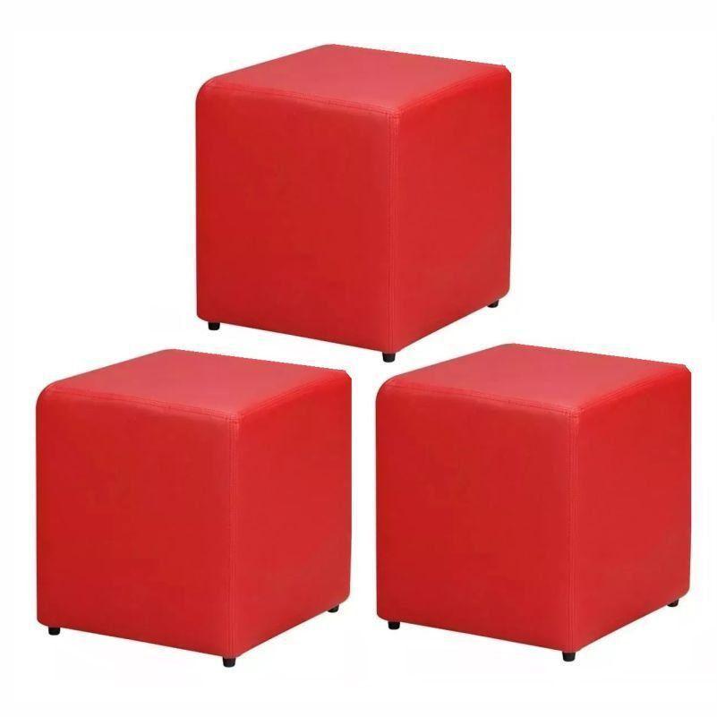 Kit 03 Puffs Quadrado Corino Vermelho - Nay Estofados