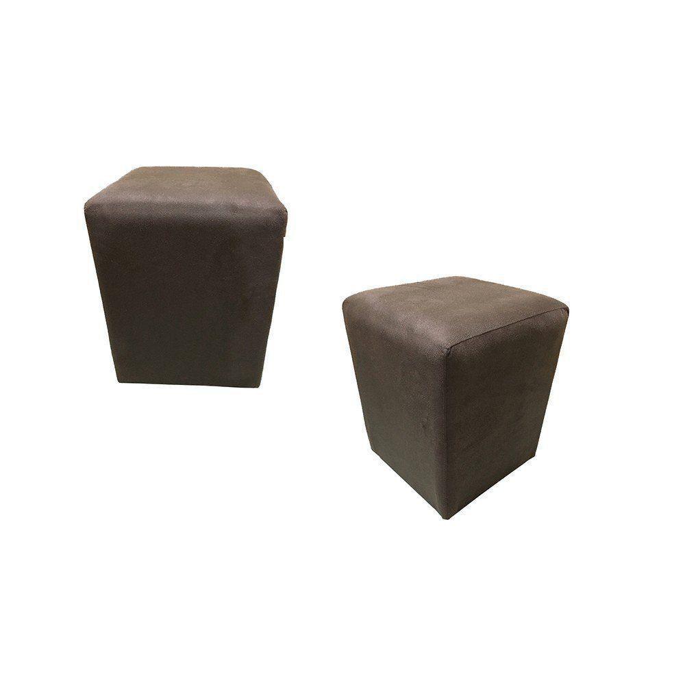 Kit 02 Puffs Quadrado Decorativo Suede Marrom - Nay Estofados
