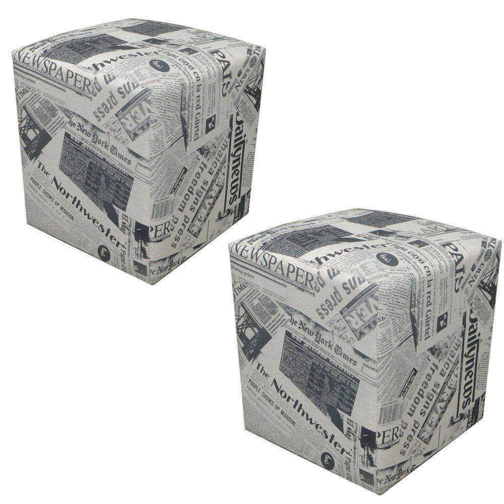 Kit 02 Puffs Decorativo Quadrado Jornal Linho - Nay Estofados