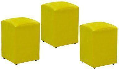 Kit 03 Puffs Decorativo Suede Amarelo