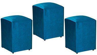 Kit 03 Puffs Decorativo Suede Azul