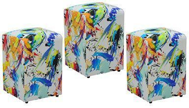 Kit 03 Puffs Decorativo Suede Color