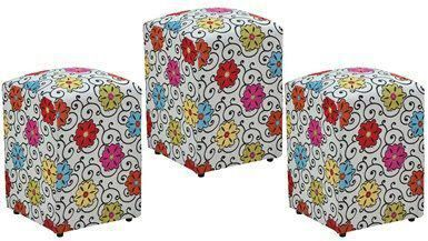 Kit 03 Puffs Decorativo Suede Floral Dohler