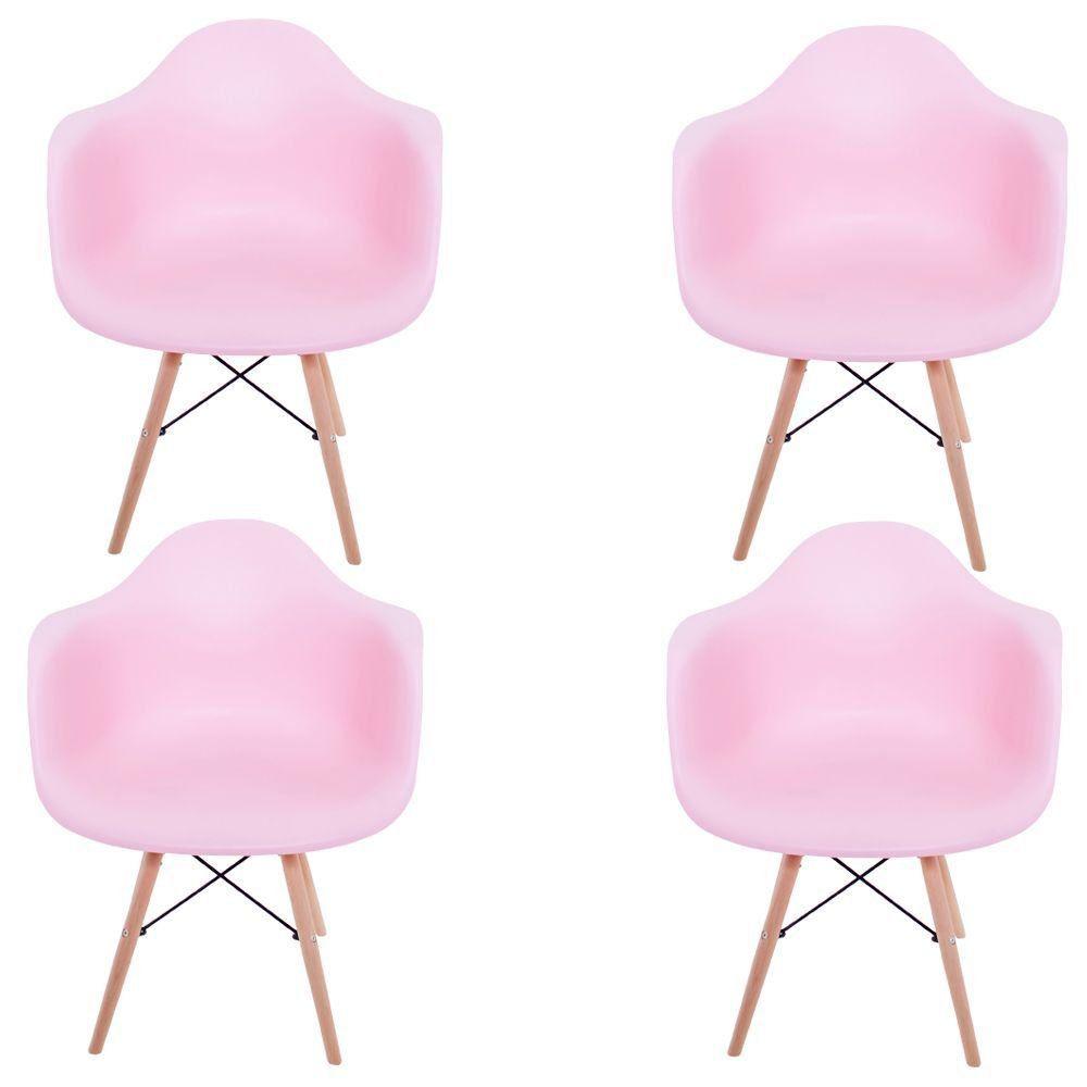 Kit 04 Cadeiras Charles Melbourne com Base de Madeira Rosa - Facthus