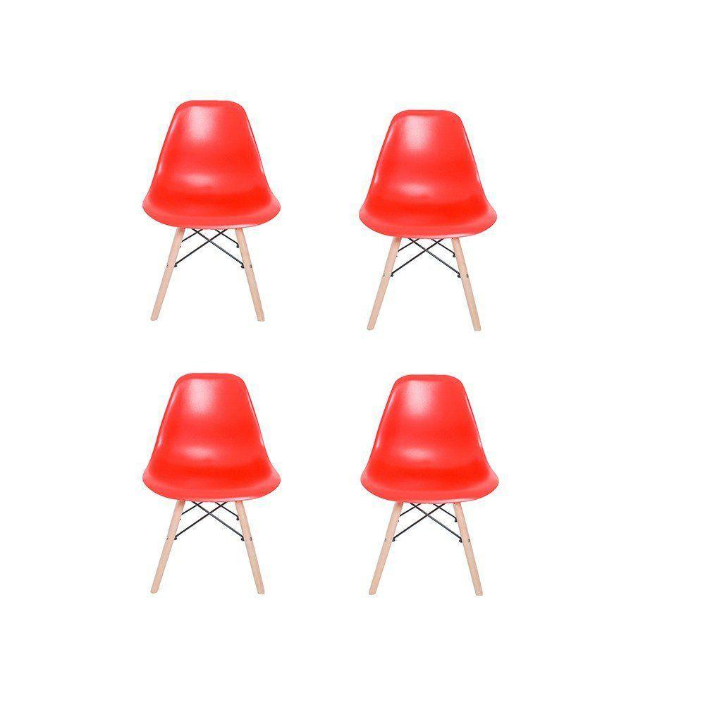 Kit 04 Cadeiras Eiffel Charles Eames em ABS com Base de Madeira DSW Vermelho - Facthus