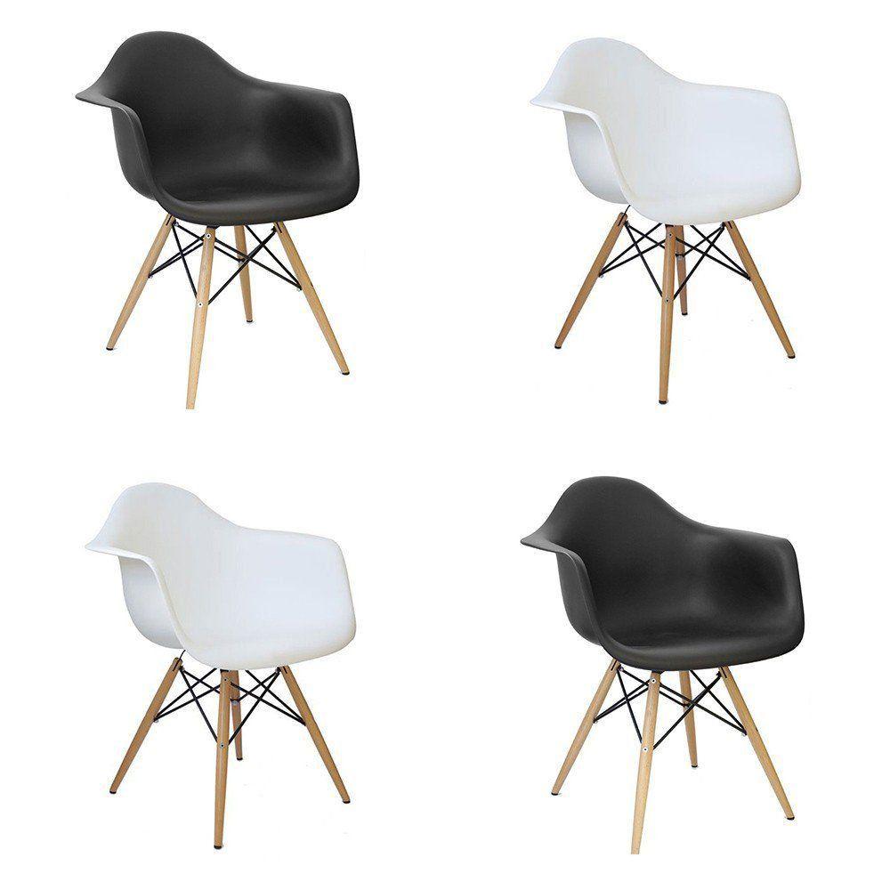 Kit 04 Cadeiras Charles Melbourne com Base de Madeira Branco/Preto - Facthus