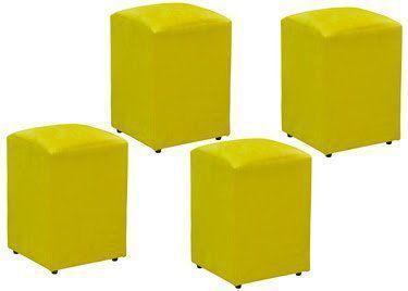 Kit 04 Puffs Decorativo Suede Amarelo