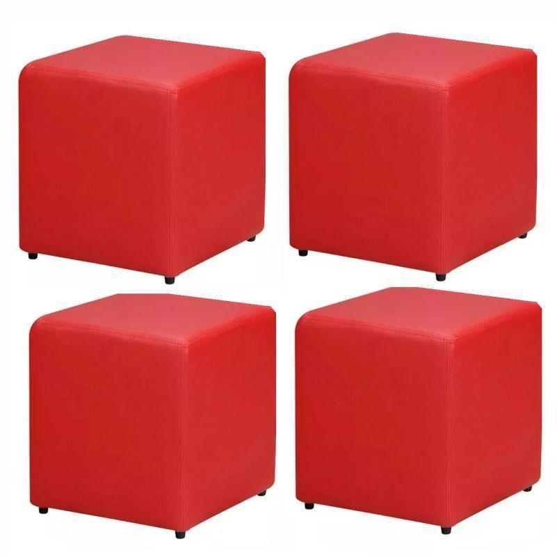 Kit 04 Puffs Quadrado Corino Vermelho - Nay Estofados
