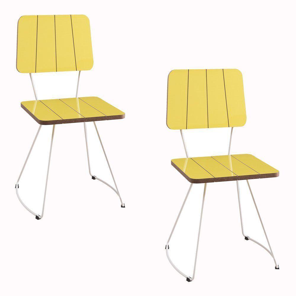Kit 2 Cadeira Costela Meia Lua Amarelo - Daf Mobiliário