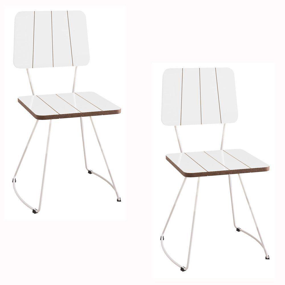 Kit 2 Cadeira Costela Meia Lua Branco - Daf Mobiliário