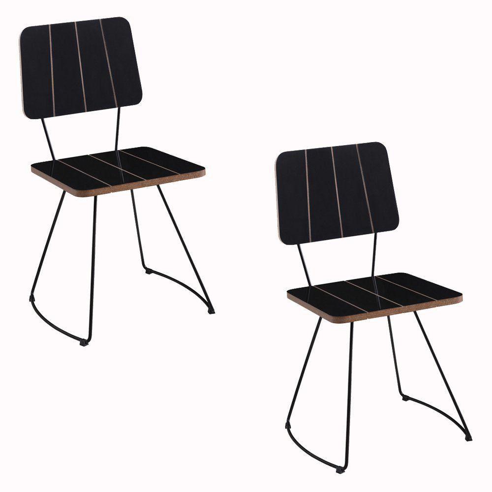 Kit 2 Cadeira Costela Meia Lua Preto - Daf Mobiliário