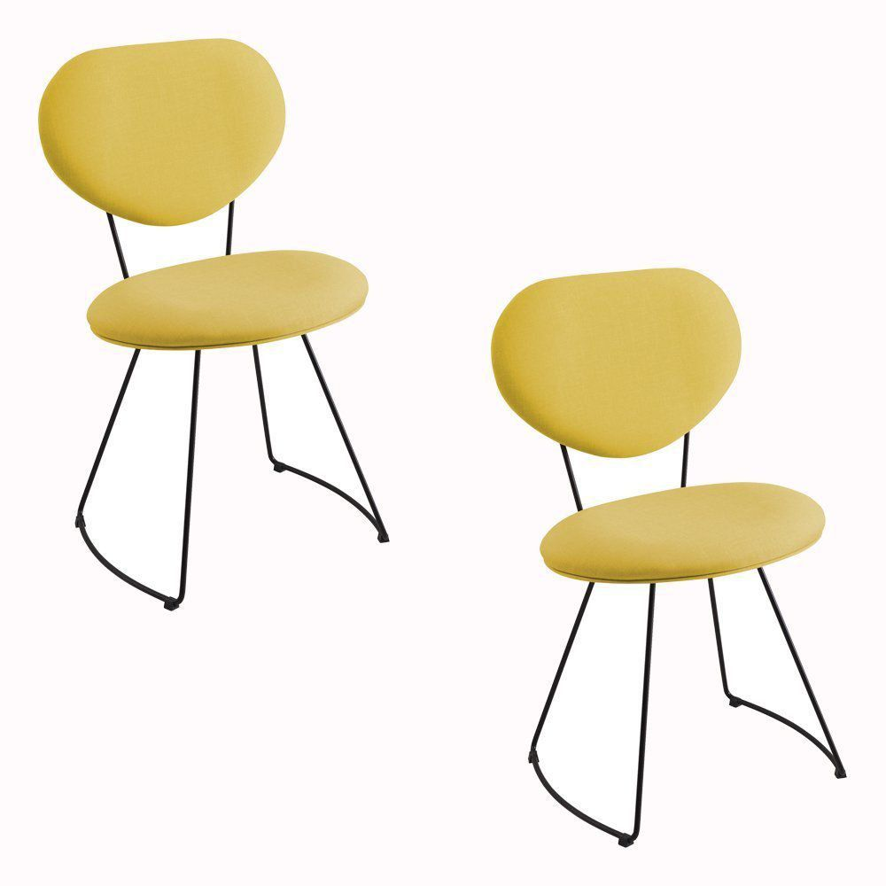 Kit 2 Cadeira Milão Meia Lua Linho Amarelo - Daf Mobiliário