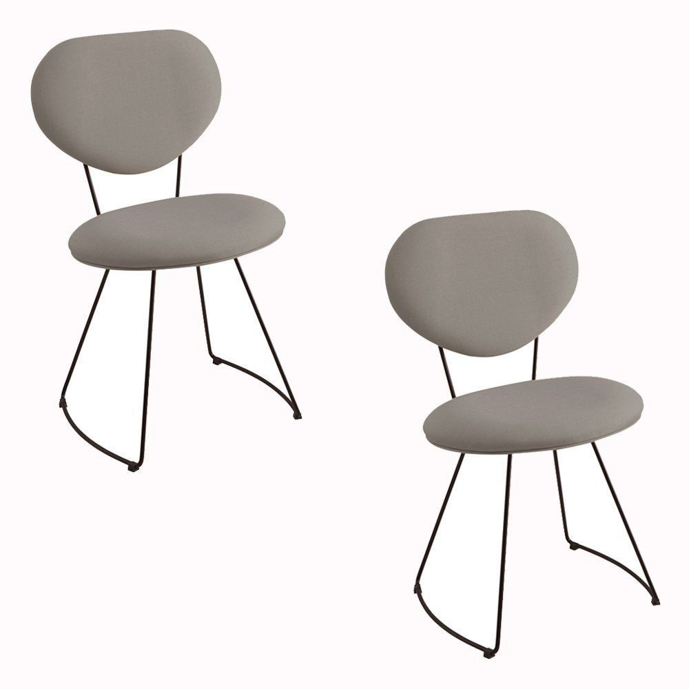 Kit 2 Cadeira Milão Meia Lua Linho Cinza - Daf Mobiliário