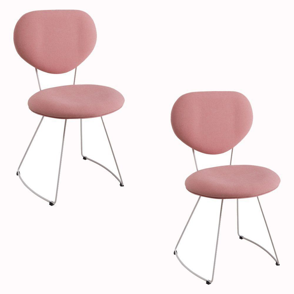 Kit 2 Cadeira Milão Meia Lua Linho Rosa - Daf Mobiliário