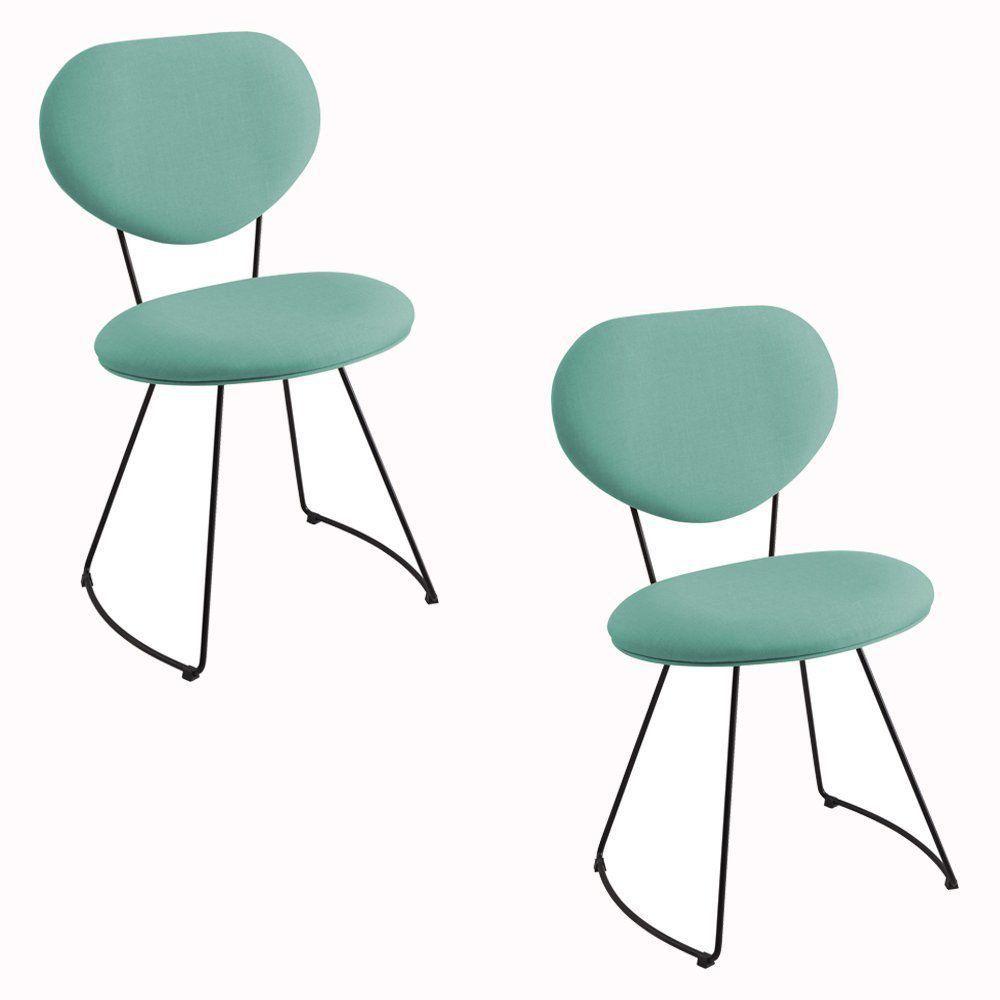 Kit 2 Cadeira Milão Meia Lua Linho Turquesa - Daf Mobiliário