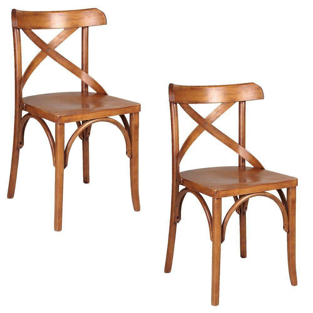Kit 2 Cadeiras Decorativas Crift Carvalho Escovado - Gran Belo