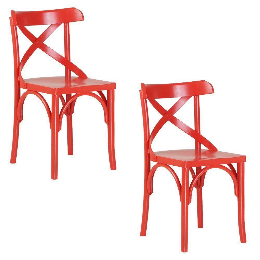 Kit 2 Cadeiras Decorativas Crift Vermelho - Gran Belo
