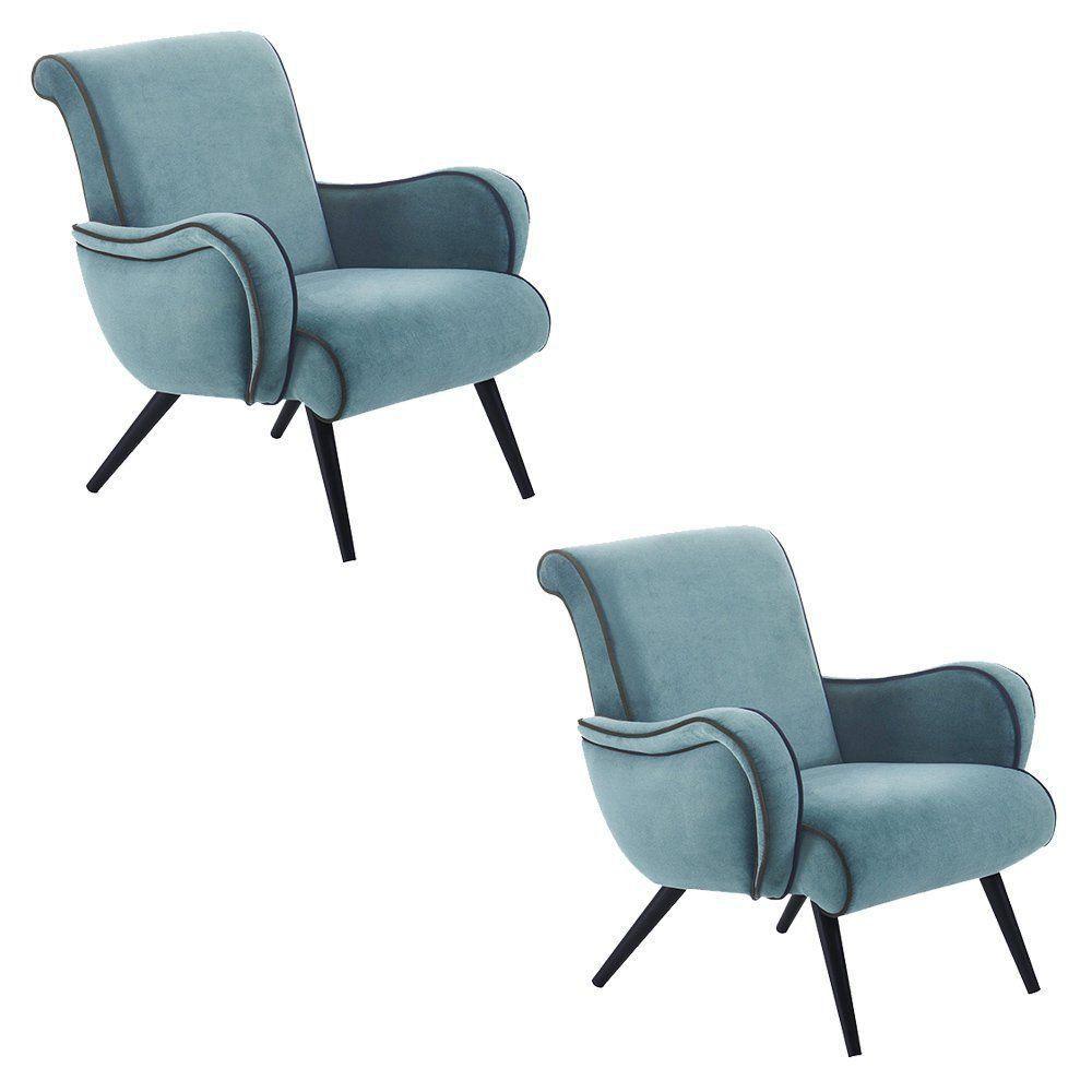 Kit 2 Poltrona Decorativa Retrô Veludo Azul - Daf Mobiliário