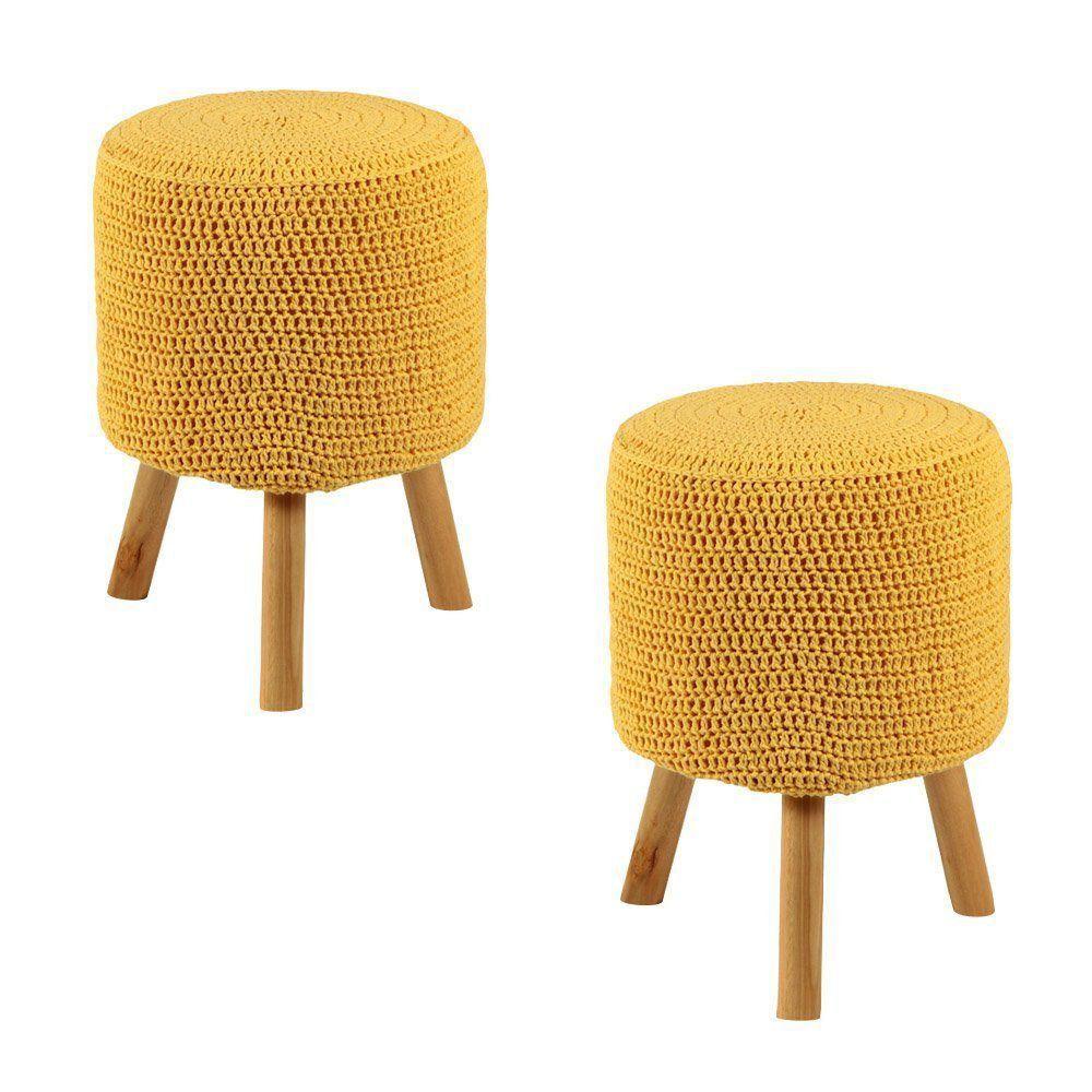Kit 2 Puffs Banquetas Round Crochê Amarelo - Stay Puff
