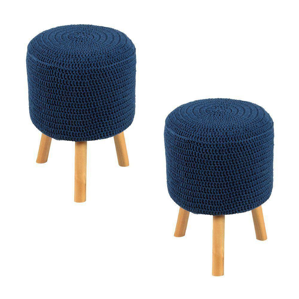 Kit 2 Puffs Banquetas Round Crochê Azul Royal - Stay Puff